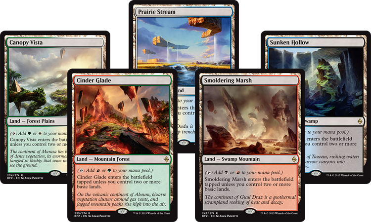 how to make lands tap for different colours mtg