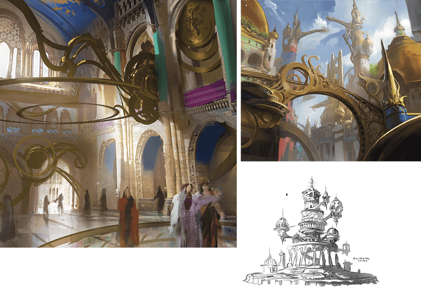 Concept art of Kaladesh building interiors and exteriors