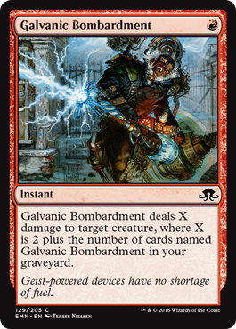 Galvanic Bombardment; spoilers from Wizards of the Coast for Magic: The Gathering set Eldritch Moon