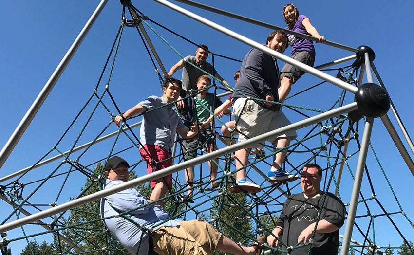The Play Design team bonding and team-building on ropes.