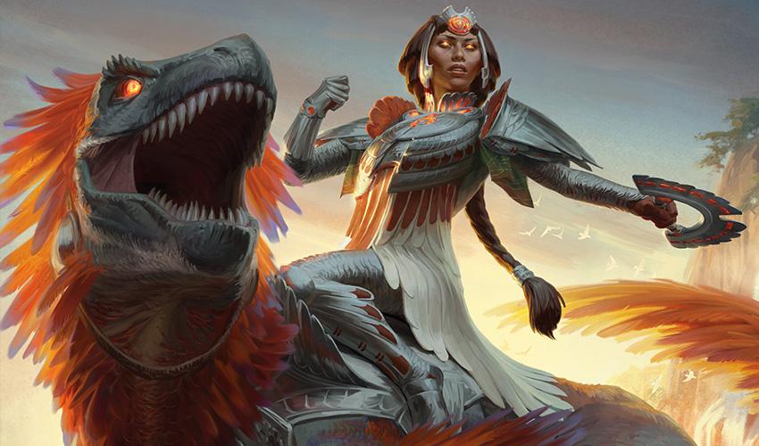 Huatli, jinete de dinosaurios