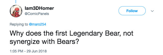 Why does the first legendary Bear not synergize with Bears?