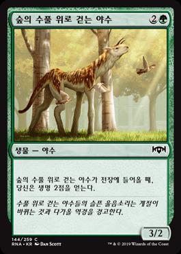 숲의 수풀 위로 걷는 야수