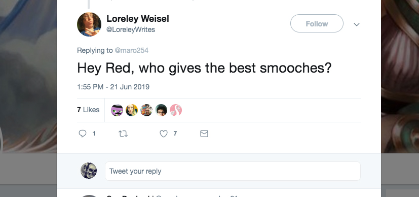 Q: Hey Red, who gives the best smooches?