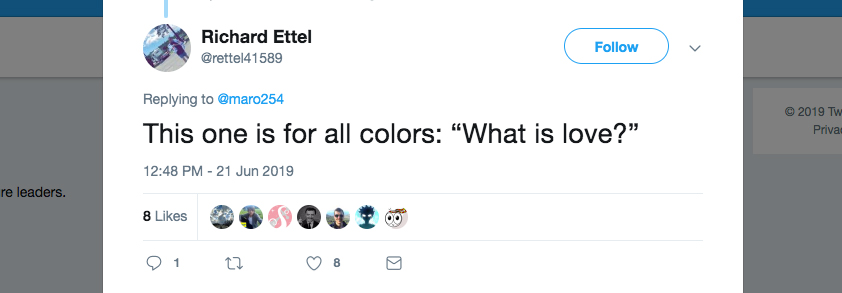"""Q: This one is for all colors: """"What is love?"""""""