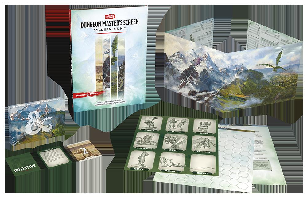 Lo schermo del DM e gli altri contenuti del Wilderness Kit.
