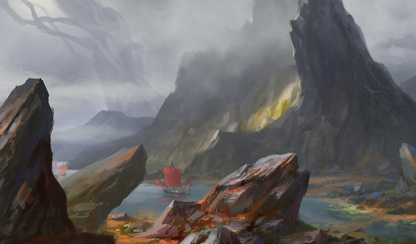 ship in channel concept art