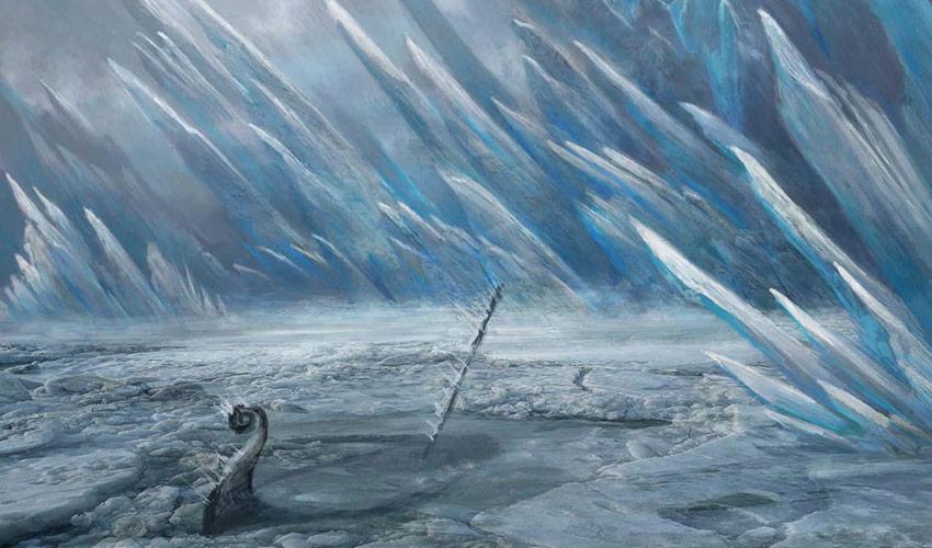 Palisade an gefrorenem Meer