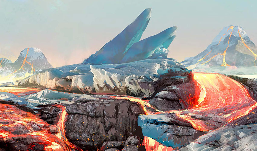 Ice and lava