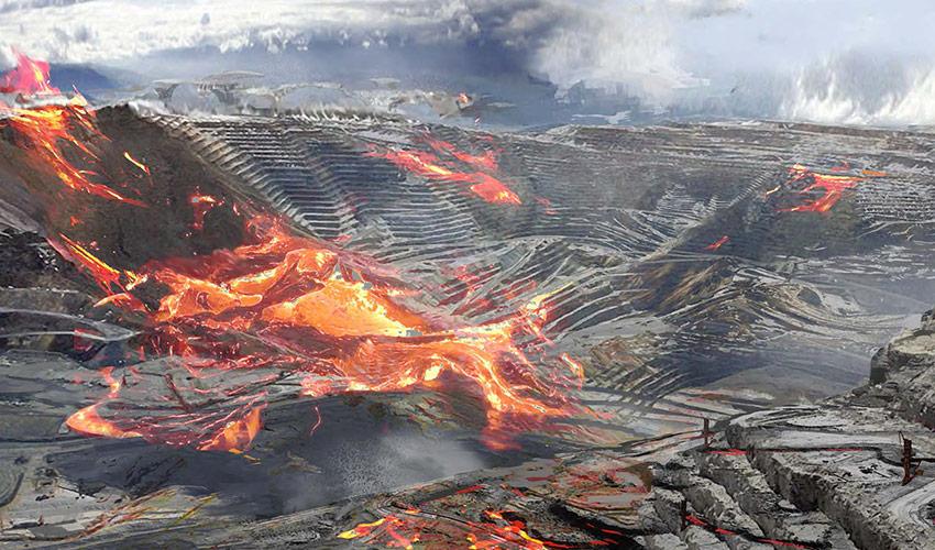 Tagebaumine in Flammen