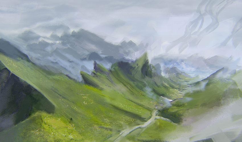 Green mountains concept art