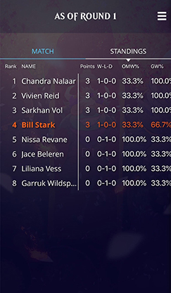 Standings screenshot