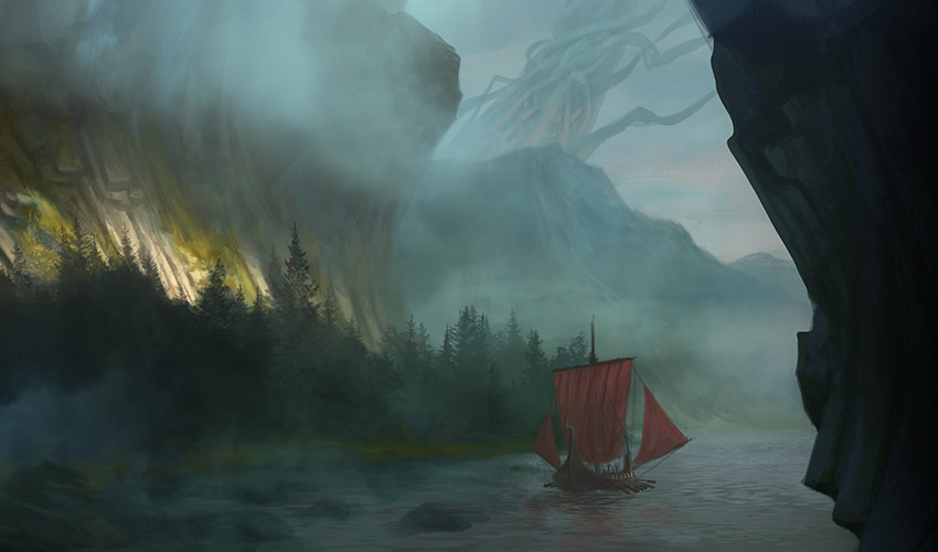 ship below cliffs with world tree behind