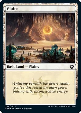 Plains basic land with flavor text