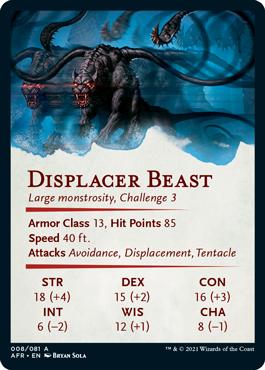 Displacer Beast Stat Card 8/81
