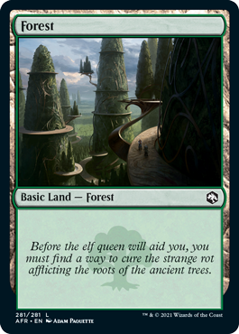Forest basic land with flavor text