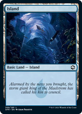 Island basic land with flavor text