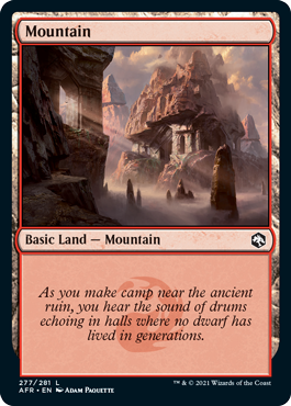 Mountain basic land with flavor text