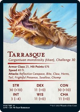 Tarrasque Stat Card 19/81