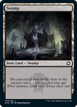 Swamp basic land with flavor text