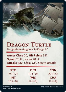 Dragon Turtle Stat Card 10/81