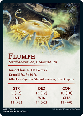 Flumph art card back face with stats