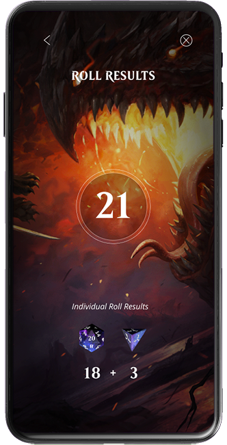 Magic Companion app animation showing dice roll results