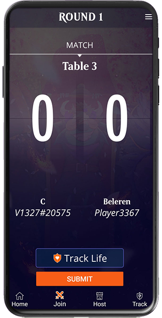 Magic Companion app screen showing the Track Life button during a match pairing