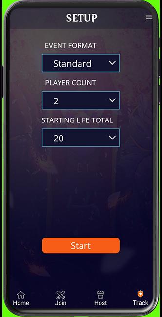 Magic Companion app screen showing the Track option