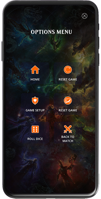 Magic Companion app animation showing the Roll Dice button and the Select Dice screen