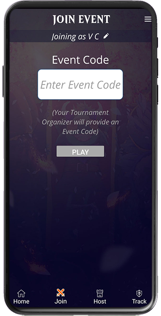 Magic Companion app screen showing event code entry field
