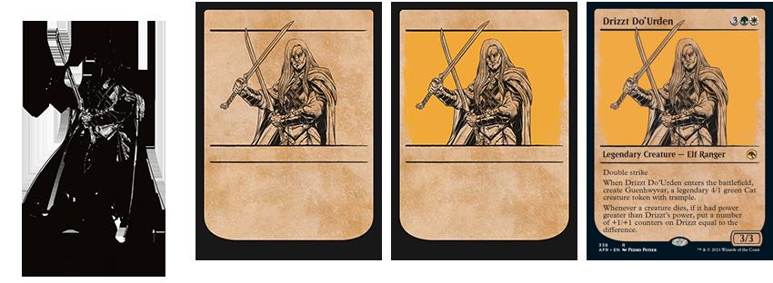 Art progression of Drizzt Do'Urden rulebook art card
