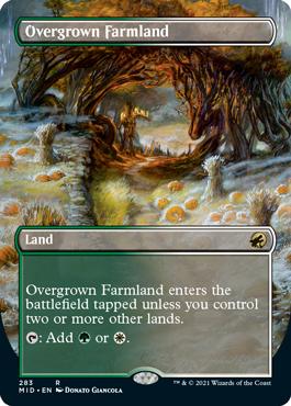 Overgrown Farmland dual land borderless card treatment