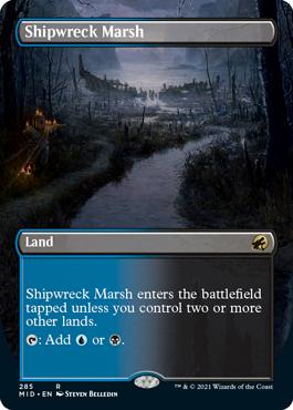 Shipwreck Marsh dual land borderless card treatment