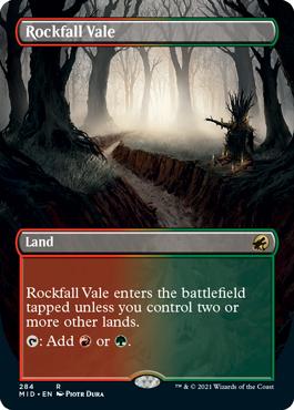 Rockfall Vale dual land borderless card treatment