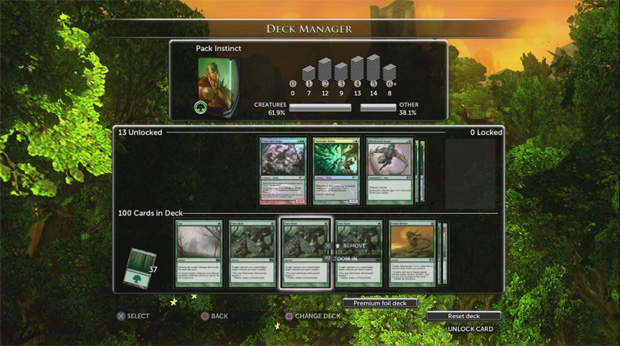The Deck Manager in Magic the Gathering Duels of the Planeswalkers 2013