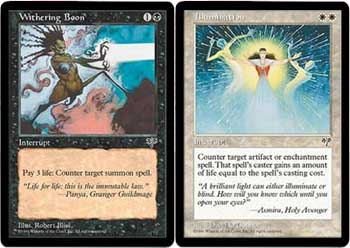 Withering Boon and Illuminate - off-color counterspells
